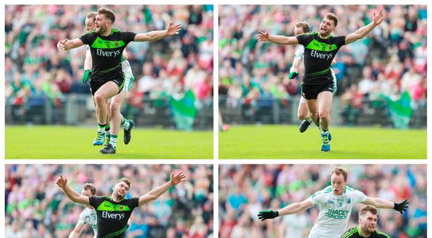 Mayo's Aidan O'Shea falls after being tackled by Che Cullen of Fermanagh which resulted in a penalty. Photos: INPHO/James Crombie