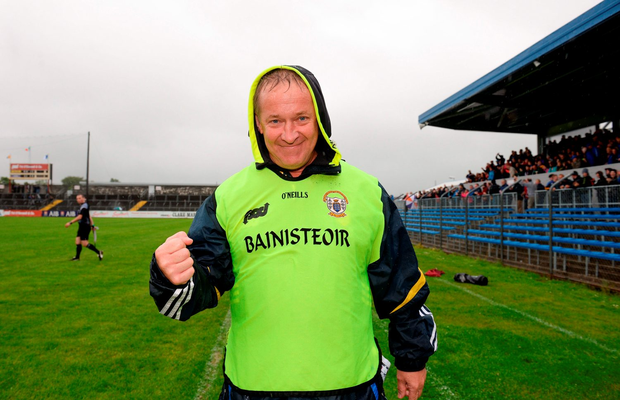 Clare manager Colm Collins celebrates his victory. Photo by Piaras Ó Mídheach/Sportsfile