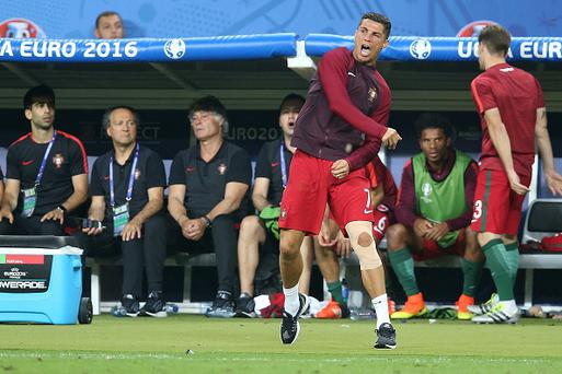 Cristiano Ronaldo of Portugal during the UEFA EURO 2016 final match between Portugal and France on July 10, 2016 at the Stade de France in Paris, France.(Photo by VI Images via Getty Images)