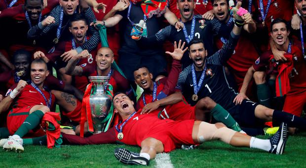 Cristiano Ronaldo leads the Portugal celebrations. Photo: Carl Recine