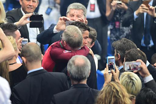 Cristiano Ronaldo of Portugal is greeted by his former Manchester United coach Sir Alex Ferguson after the European Championship Final between Portugal and France at Stade de France on July 10, 2016 in Paris, France. (Photo by Dave Winter/Icon Sport) (Photo by Dave Winter/Icon Sport via Getty Images)