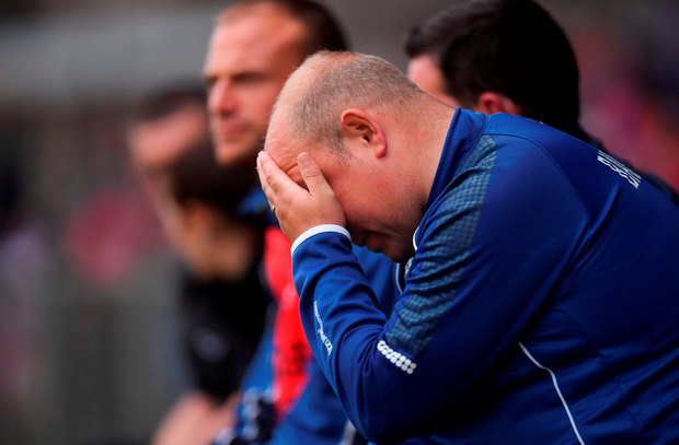 Derek McGrath reacts to Tipperary's dominance on field. Photo by Stephen McCarthy/Sportsfile