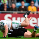 Aidan O'Shea of Mayo is fouled by Che Cullen of Fermanagh resulting in a penalty. Photo: Sportsfile