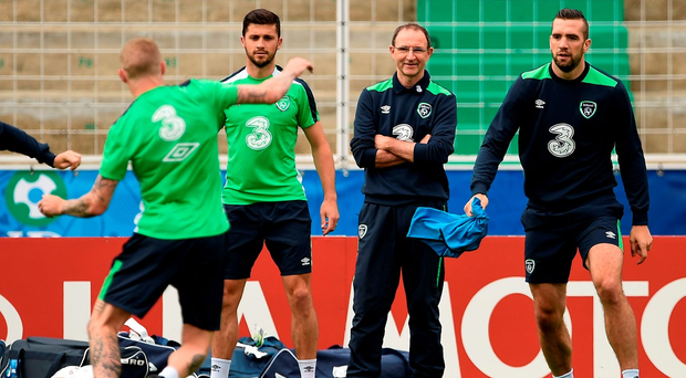 Ireland manager Martin O'Neill looks on during squad training in Versailles. Photo: Sportsfile