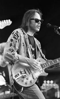 Neil Young at Slane Castle, Neil Young on stage,10/07/1993 (Part of the Independent Newspapers Ireland/NLI Collection).