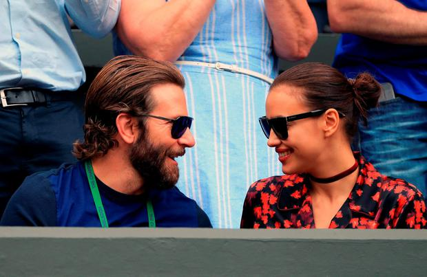 Bradley Cooper and Irina Shayk on day eleven of the Wimbledon Championships at the All England Lawn Tennis and Croquet Club, Wimbledon