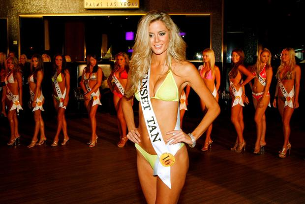 Brittany Mason of Nevada competes in the second annual Miss Sunset Tan Pageant at the Palms Casino Resort July 26, 2009 in Las Vegas, Nevada. (Photo by Ethan Miller/Getty Images)