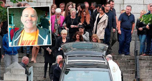 The funeral of David 'Daithi' Douglas and (inset) shooting victim Mr Douglas