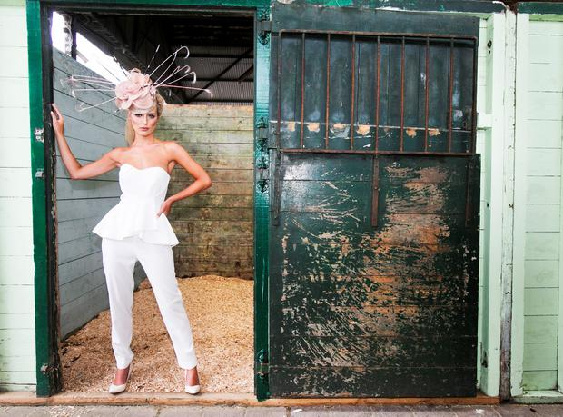 Model Gracie O'Mahony pictured wearing a bespoke headpiece created out of Great Lengths Hair Extensions by Valerie Patterson from Cowboys and Angels in Dublin to launch Great Lengths sponsorship of the 'Most Creative Hat' category on Ladies Day at the Dublin Horse Show