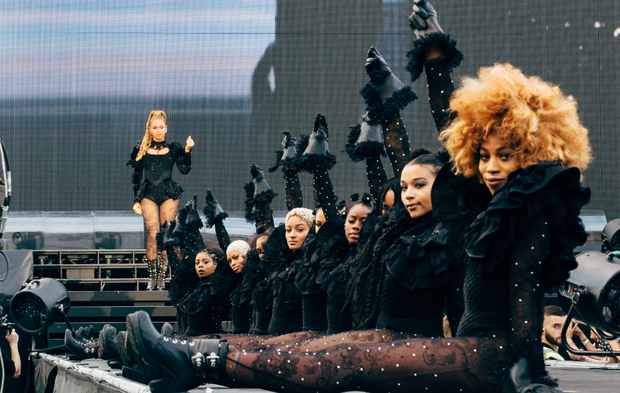 Beyonce and her well-drilled dancing corps line the stage of Croke Park. Photo: Andrew White / Beyonce.com