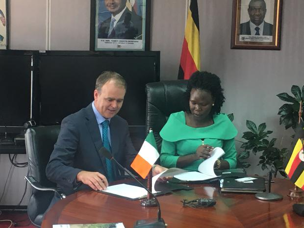 Minister of State for International Affairs and the Diaspora, Joe McHugh, today signed a five-year 83 million aid package to support projects for the poorest communities in Uganda. He is pictured here with the Uganda Minister of State of Finance Anite Evelyn