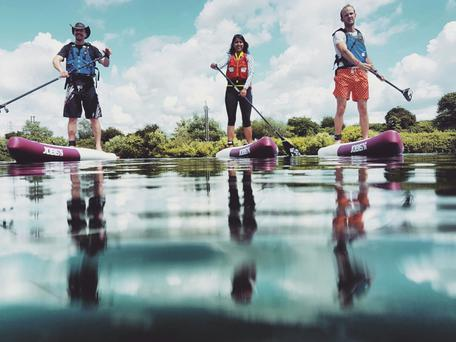 A group of three UK-based environmental campaigners are attempting what is believed to be the world's first full descent of the River Shannon on paddle boards. Photo: Shilpika Gautam