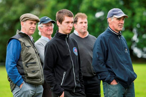 William Blackburne, Ballindangan, Jerome Quane, Kilworth, Adrien Vaillant, French Student, John Kiersey, Kilworth & Michael Leamy, Ballyduff are pictured at a Teagasc dairy farm walk at Michael Gowen's, Downing, Kilworth, Co Cork on 'Managing Through 2016'. Photo O'Gorman Photography.
