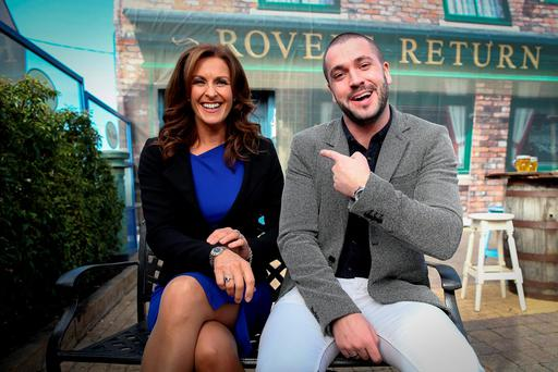 Coronation Street star Shayne Ward and UTV Ireland's Alison Comyn at the launch of the station's winter schedule last year. Pic: Maxwells