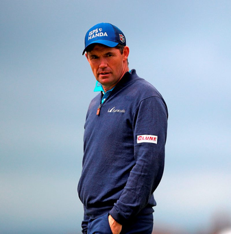 Padraig Harrington in thoughtful mood during the practice day at Royal Troon yesterday. Photo: Peter Byrne/PA Wire