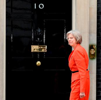 Theresa May visiting Number 10 last year – tomorrow she moves in as prime minister. Photo: Anthony Devlin/PA Wire