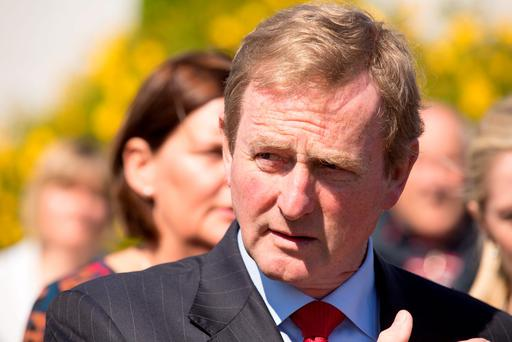 Taoiseach Enda Kenny turns the sod on the new extension of the Sacred Heart Hospital in Castlebar, Co Mayo. Photo : Keith Heneghan / Phocus.