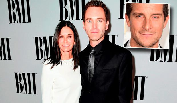Actress Courteney Cox (L) and musician Johnny McDaid of Snow Patrol. inset Bear Grylls