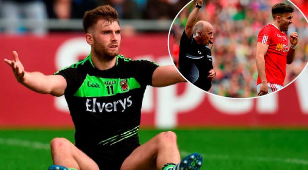Aidan O'Shea dived at the weekend and (inset) Tiernan McCann