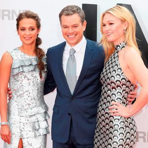 "Alicia Vikander, Matt Damon and Julia Stiles attend the ""Jason Bourne"" European premiere at the Odeon Leicester Square on July 11, 2016 in London, England. (Photo by Chris Jackson/Getty Images)"