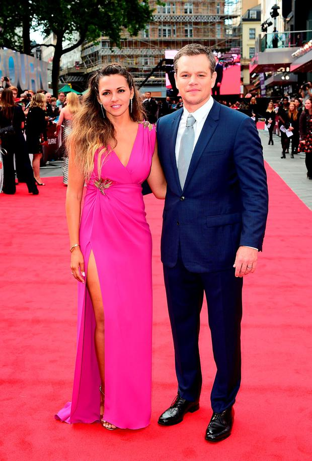 Matt Damon and wife Luciana Barroso attending the European premiere of Jason Bourne held at Odeon Cinema in Leicester Square