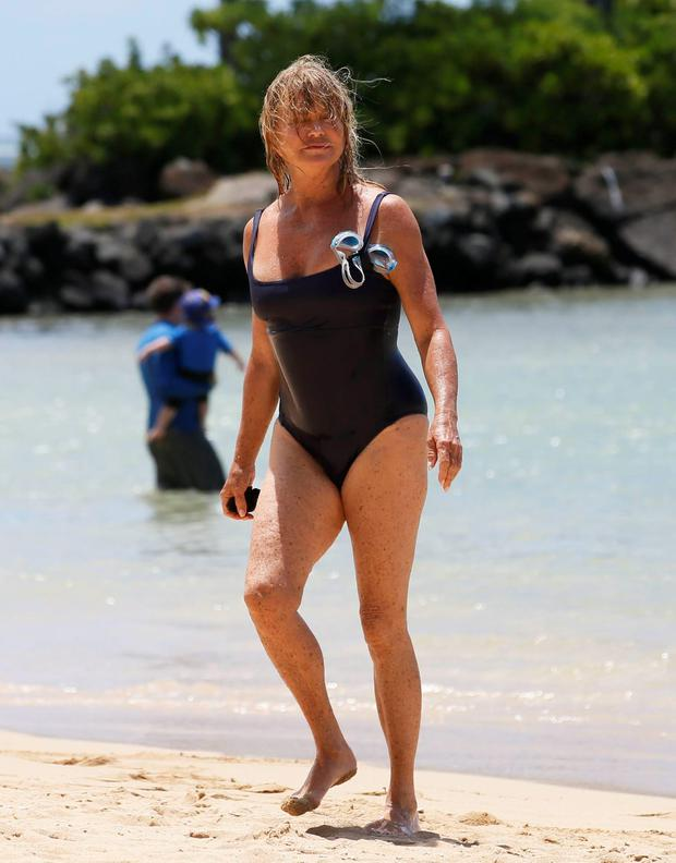 Goldie Hawn hit the beach in Hawaii. Picture: Fame Flynet