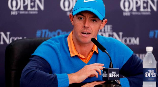 Rory McIlroy during a press conference during the practice day at Royal Troon