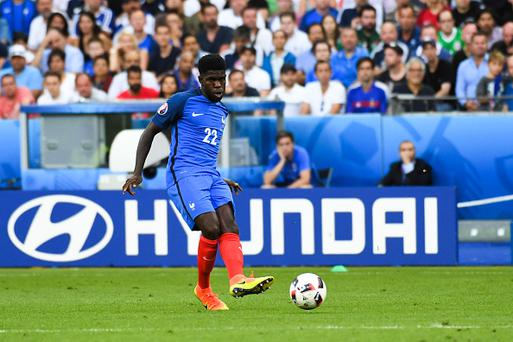 Samuel UMTITI of France during the European Championship Final between Portugal and France at Stade de France on July 10, 2016 in Paris, France. (Photo by Jean Paul Thomas/Icon Sport) (Photo by Jean Paul Thomas/Icon Sport via Getty Images)