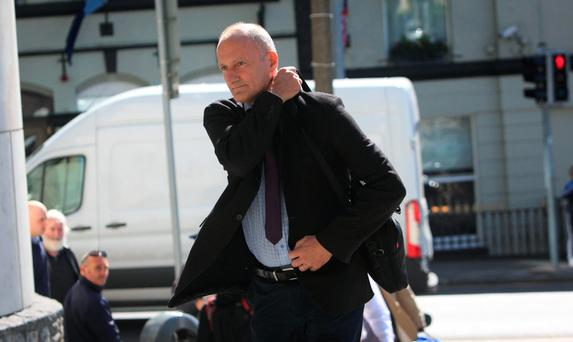 Sean Carraher (55) of Stradbrook Hill, Blackrock, Dublin arrives at the Dublin Circuit Criminal Court where he has pleaded not guilty to harassing Garda Sergeant Conor Gilmartin between March 2009 and May 2011 Pic: COLLINS COURTS