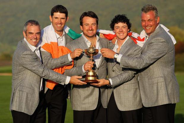 Padraig Harrington, Graeme McDowell pictured alongside Paul McGinley, Rory McIlroy and Darren Clarke following Europe's win in 2010