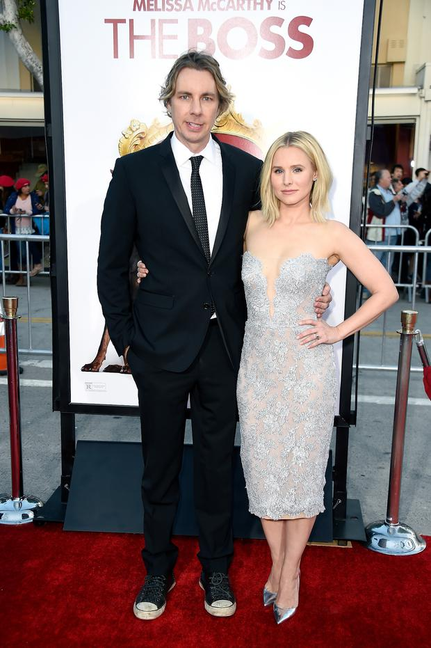 Actors Dax Shepard (L) and Kristen Bell attend the premiere of USA Pictures'