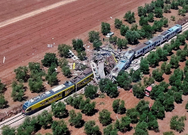 This aerial image shows what is left of the two trains after the collision. Photo: Italian Firefighter Press Office