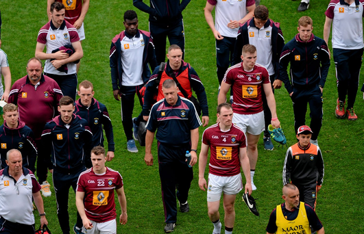 Dejected Westmeath manager Tom Cribben leaves the field after the game. Picture: Dáire Brennan / SPORTSFILE