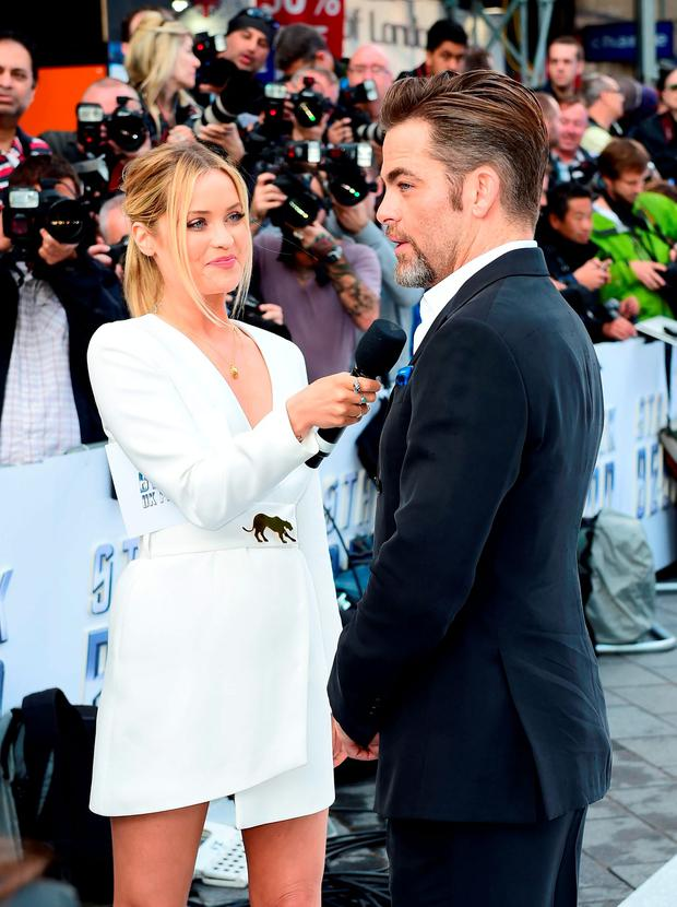 Laura Whitmore interviews Chis Pine during the premiere of Star Trek Beyond held at the Empire in Leicester Square, London.Photo: Ian West/PA Wire