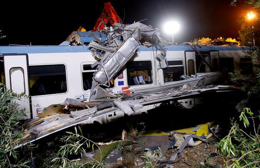 One of the two passenger trains which collided in the middle of an olive grove in the southern village of Corato, near Bari, Italy. REUTERS/Alessandro Garofalo