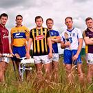 David Burke (Galway), Brendan Bugler (Clare), Padraig Walsh (Kilkenny), Noel McGrath (Tipperary), Kevin Moran (Waterford) and Matthew O'Hanlon (Wexford) during yesterday's launch of the hurling All-Ireland series. Photo by David Maher/Sportsfile