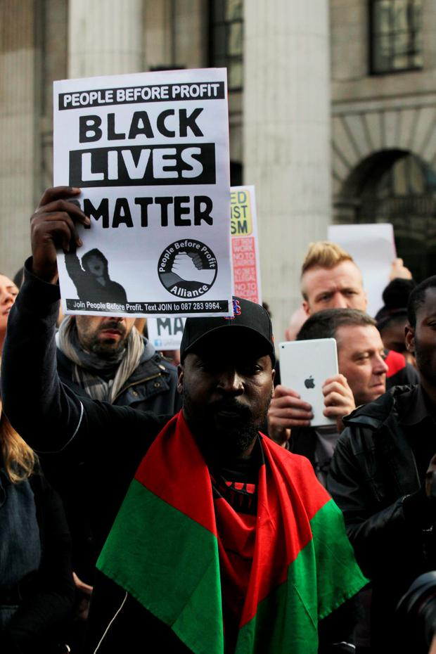 Demonstration in solidarity with the Black Lives Matter movement in the US took place at O' Connell Street Dublin this evening .Picture: Stephen Collins/Collins Photos