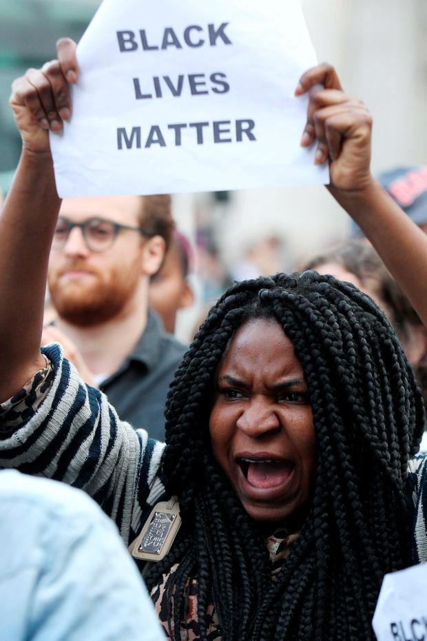 Demonstration in solidarity with the Black Lives Matter movement in the US took place at O' Connell Street Dublin this evening. Picture: Stephen Collins/Collins Photos