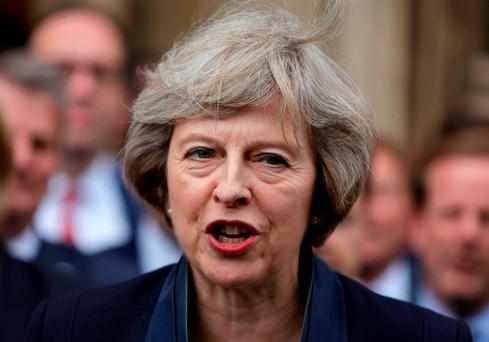 'Aside from Brexit, Mrs May has in the past forcefully said she wanted the UK to withdraw from the European Convention on Human Rights, which underpins much of the Good Friday Agreement.' DANIEL LEAL-OLIVAS/AFP/Getty Images