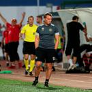 Celtic manager Brendan Rodgers reacts at the final whistle after their Champions League defeat to Lincoln Red Imps was confirmed. Photo: SNS GROUP