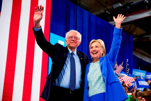 Democratic presidential candidate Hillary Clinton and Bernie Sanders. Photo: PA