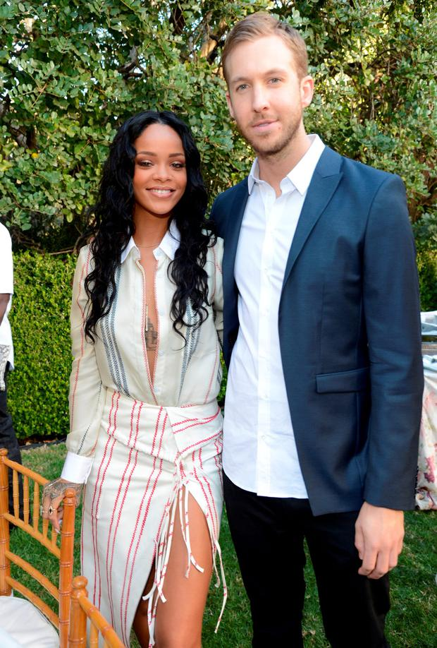 Rihanna and Calvin Harris attend the Roc Nation Pre-GRAMMY Brunch presented by MAC Viva Glam at Private Residence on January 25, 2014 in Beverly Hills, California. (Photo by Kevin Mazur/Getty Images)