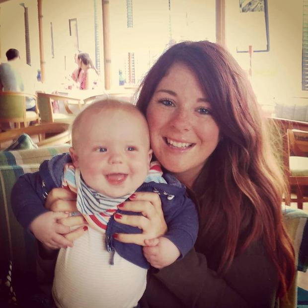 Claire pictured with her son Elliott (19 months) before she began to lose her hair