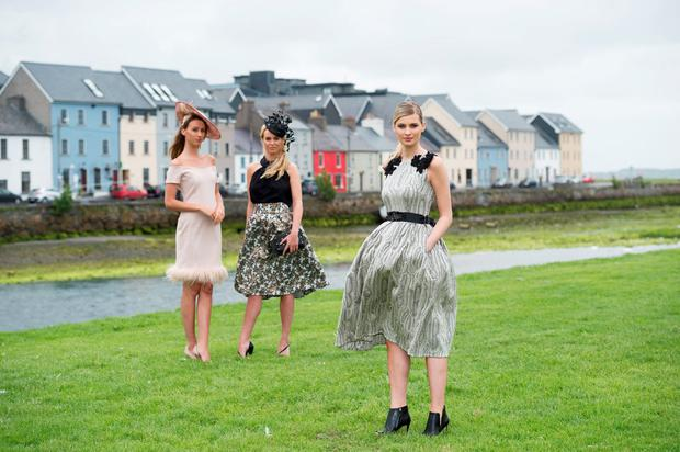 L-R: Eliska McAndrews wears off the shoulder nude dress with feather hemline, €160, Caithriona King headpiece, POA from Muse By Dee; Kellie McGrath wears Matilde Cano top, €199, and skirt, €250, Caithriona King headpiece, POA at Style Studio at Don't Call Me Dear; Katie Geoghegan wears Matilde Cano metallic dress with shoulder detail, €470, Willow.