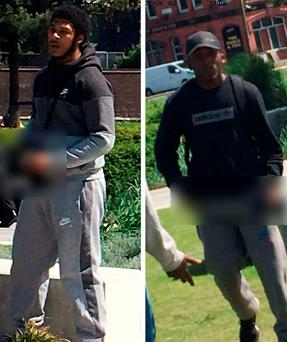 Image issued by West Midlands Police of two thugs armed with a machete and what appeared to be a handgun in Birmingham's Millennium Point Park at about 2.15pm on June 6. Credit: West Midlands Police/PA Wire