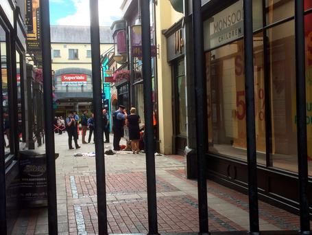 Scene of the stabbing at Market Cross shopping centre in Kilkenny. Picture courtesy of KCLR 96FM News & Sport