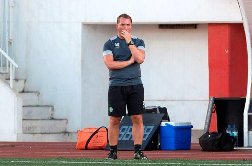 Brendan Rodgers is alone with his thoughts during Celtic's shock defeat to Lincoln Red Imps on Tuesday night. Picture Credit: SNS Group