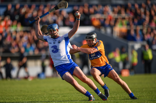 13 July 2016; Patrick Curran of Waterford in action against Rory Hayes of Clare during the Bord Gáis Energy Munster U21 Hurling Championship Semi-Final match between Waterford and Clare at Walsh Park in Waterford. Photo by Stephen McCarthy/Sportsfile