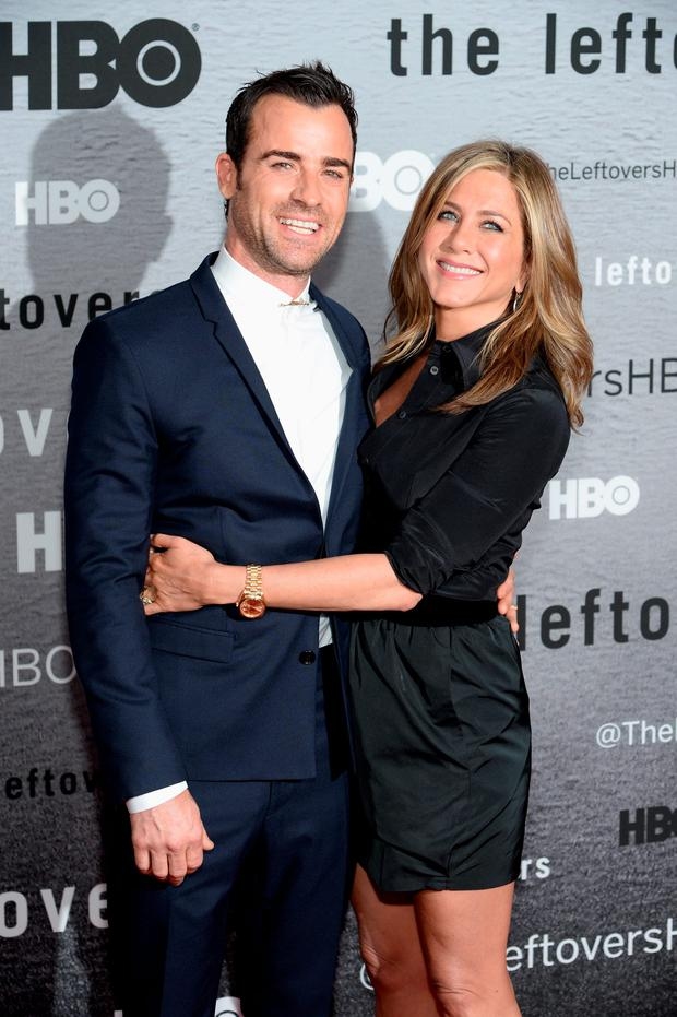 Happy couple: Jennifer Aniston with husband Justin Theroux.
