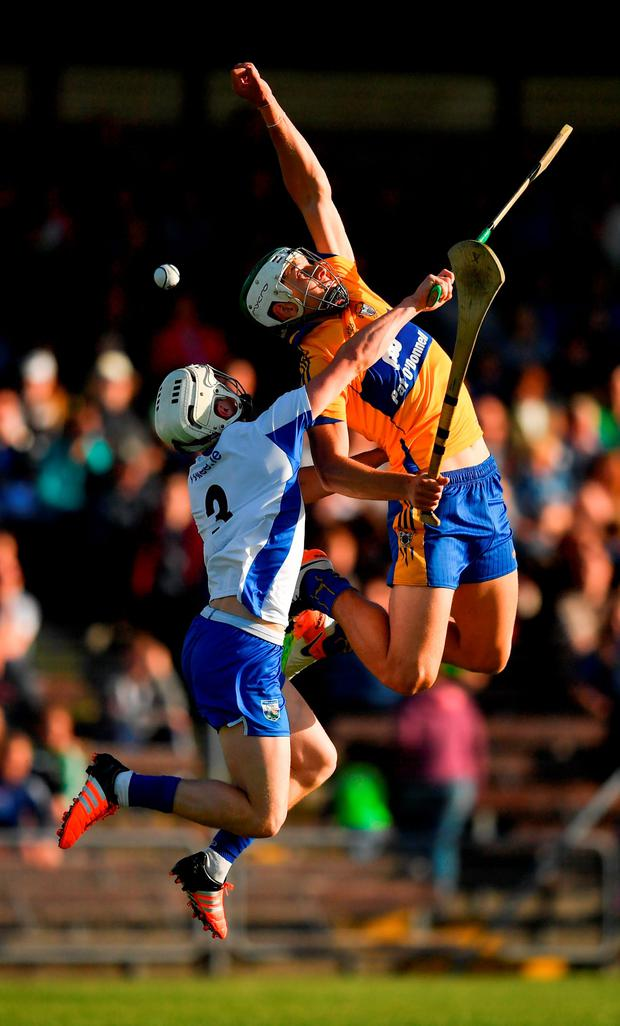 Aaron Shanagher of Clare in action against Conor Gleeson of Waterford. Photo: Sportsfile